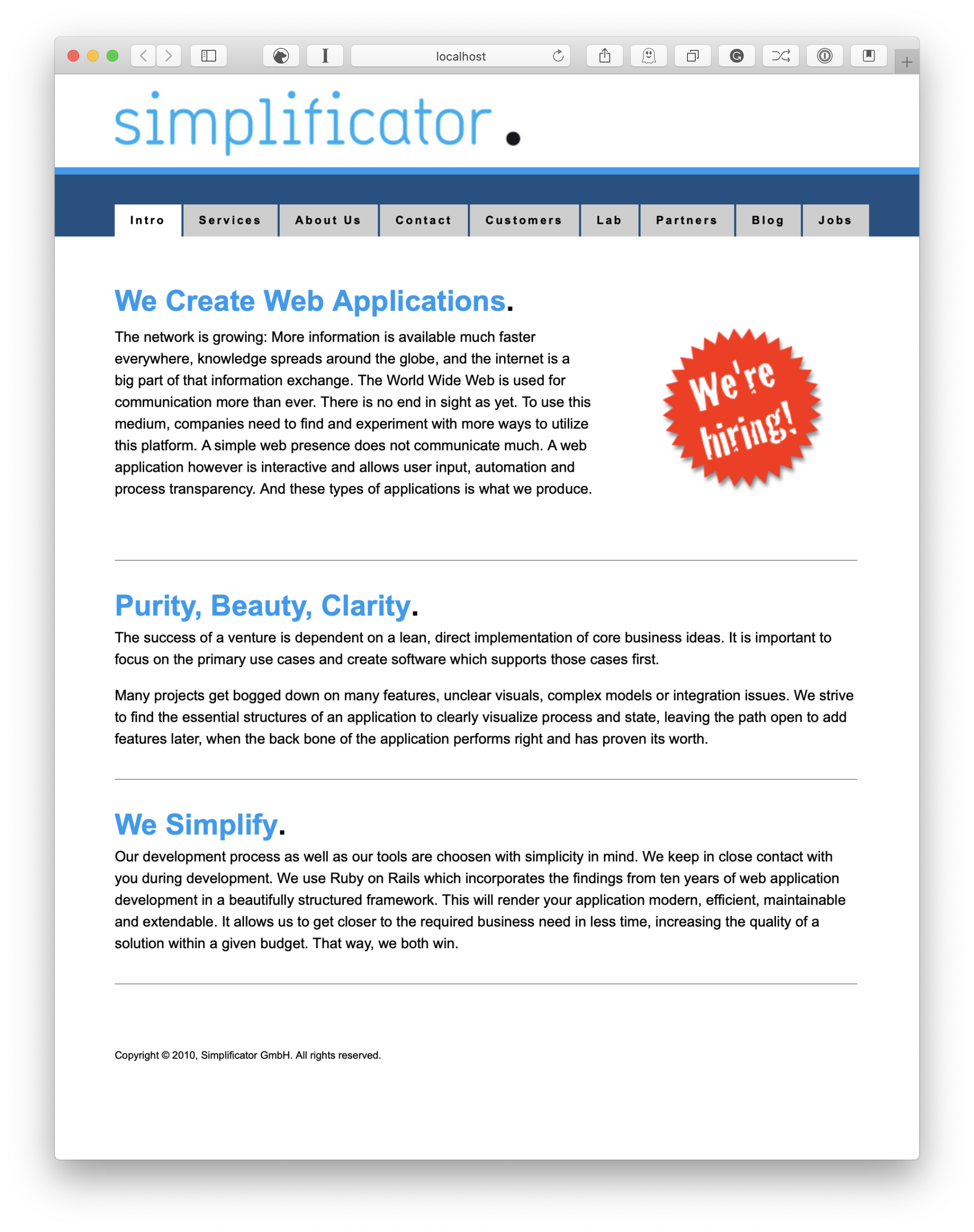 Simplificator Front Page in 2010